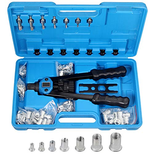 Justech 13' Pistola Remachadora Manual con 100PCs Tuercas para Mandriles M3 M4 M5 M6 M8 M10 M12 Remachadora Profesional para Taladro de Remaches con Mango Plástico Juego de Herramienta de Alicates