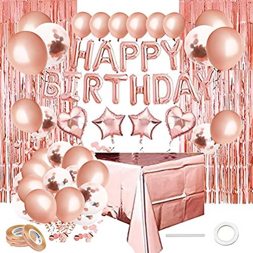 kuou Rosegold Geburtstagsdeko, Geburtstag Party Dekorationen Set Happy Birthday Girlande Konfetti Ballons Tischdecke Glitzer Vorhang