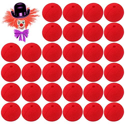 Espuma de Circo para Traje,30 PCS Narices de Payaso,Rojo Nariz de Juego de rol Nariz de,De Circo De La Nariz,Adecuado para disfraces de fiesta de carnaval de Halloween y Navidad