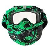 Nawenson Motorrad Gesichtsmaske Abnehmbare Schutzbrille mit Mundfilter für Jethelm für Motocross Ski Snowboard (Grün & klar)