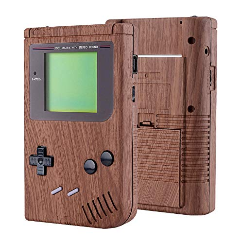 eXtremeRate Wood Grain Soft Touch Case Cover Replacement Full Housing Shell for Gameboy Classic 1989 GB DMG-01 Console with w/Screen Lens & Buttons Kit - Handheld Game Console NOT Included