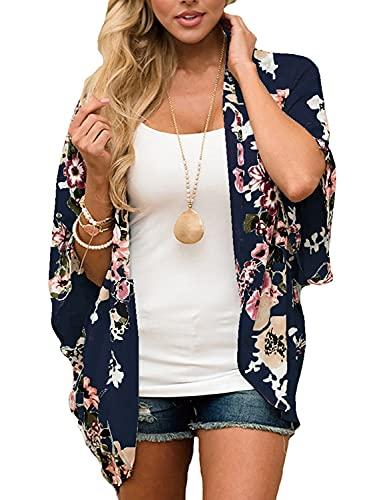 Summer Cardigans for Women Lightweight Floral Swimsuit Kimono Cover Ups Maternity Tops Beach Boho Chiffon Sheer Hawaiian Shirts Blouses Wraps Shawls Deep Blue Large