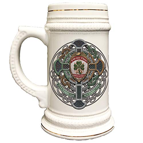 Thin Red Line Fire Fighter Fir Na Tine Men Of Fire Celtic Cross 22 Ounce USA Printed Beer Stein