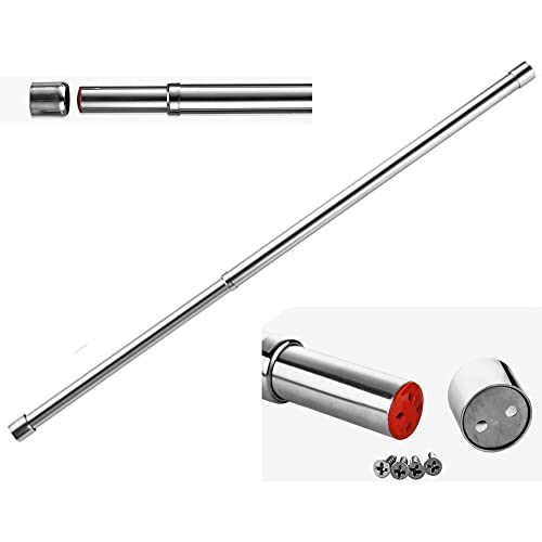 25mm Extendable Wardrobe Rail Tube Rod with End Sockets57– 97cm Stainless Steel (57cm to 97cm)