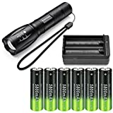 Super Bright 2000 Lumen 18650 Tactical Flashlight and 6x 3.7V Rechargeable High-Capacity Battery with Batteries Charger,Adjustable Focus and 5 Light Modes Handheld Flashlight for Camping Hiking