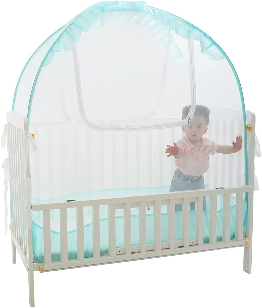 """Crib Tents to Keep Toddler in, V-Fyee Baby Bed Tent Safety Mosquito Netting Canopy Cover to Protect Baby from Biting and Falling - Keep Baby from Climbing Out (Cyan, L51""""x W27.5"""" x H51"""")"""