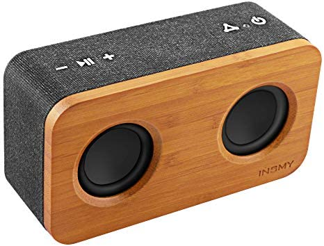 INSMY Retro Bluetooth Speaker 20W Portable Wood Home Audio Super Bass Stereo with Woofers TWS product image