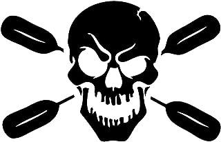 2pcs Skull with Oars Paddle Vinyl Decal Sticker Kayak Fishing Car Truck Canoe Truck