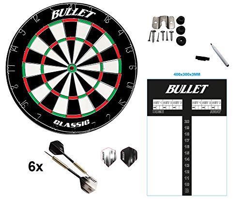 BULLET-Darts Set bestehen aus Dartscheibe, Scoreboard. 6X Steeldarts, Stift und Eraser
