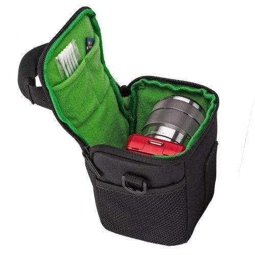 RIVACASE Tasche für Kompakt- & Systemkameras - elegante Kameratasche mit Zubehörfächern & Gürtelschlaufe - Schwarz