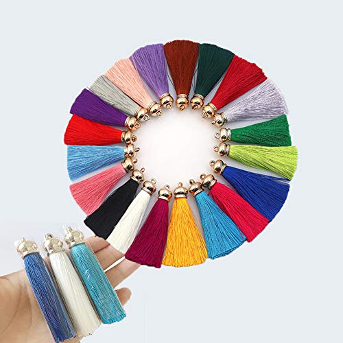 GBSTORE 12 Pcs 8 cm Silk Long Tassel with Gold Metal Caps Multicolored Fashion Soft Imitation Silk Tassels for Earrings Curtain Jewelry Making Key Chain Cellphone Bag DIY Accessories(Mix Color)