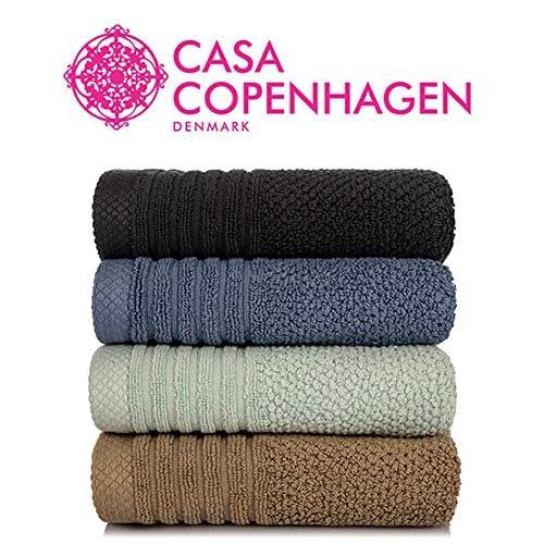 Casa Copenhagen Solitaire 600 GSM 100% Cotton 4 Pcs Hand Towels (17 X 27 Inch) - Slate Blue,Tortilla Brown,Oxford Blue,Smoke Grey