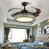 Berkalash - Lámpara de techo con ventilador, retro, industrial, hierro, lámpara de péndulo para...