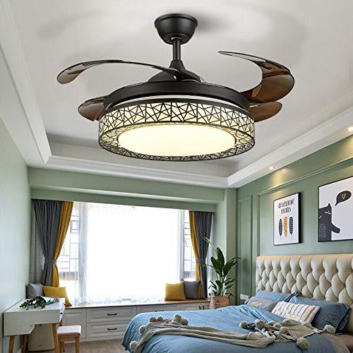 Berkalash Ventilador de techo retro industrial de hierro, iluminación para salón, dormitorio, luz LED + mando a distancia, ventilador de refrigeración, color negro
