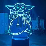 Luz De Ilusión 3D Luz De Noche Led Baby Yoda Bowl Sopa Decoración De Dormitorio Infantil Lámpara De Mesita De Noche Mini Regalo Yodamm Para Niños