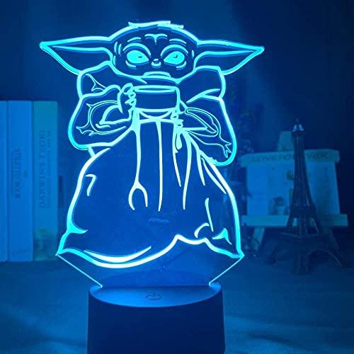 Lámpara De Ilusión 3D, Luz De Noche Led, Cuenco De Yoda Para Bebé, Sopa, Decoración De Dormitorio Para Niños, Lámpara De Escritorio Para Cabecera, Regalo Para Niños, Mini Yoda Meme