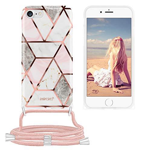 Imikoko Handykette Hülle für iPhone SE 2020/iPhone 7/iPhone 8 Marmor Glitzer Necklace(abnehmbar) Hülle mit Kordel zum Umhängen Silikon Handy Schutzhülle mit Band - Schnur mit Case zum umhängen