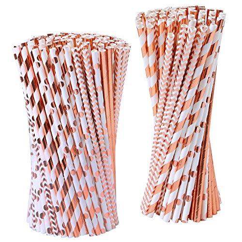 Cannucce di carta color oro rosa, confezione da 150 cannucce biodegradabili in lamina metallica a righe/onda/cuore/stella, per compleanni, matrimoni, Natale, baby shower, feste di compleanno