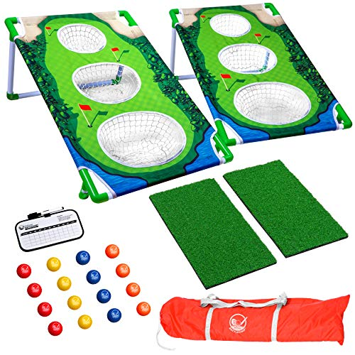 GoSports BattleChip Match Backyard Golf Cornhole Game   Includes 2 Chipping Targets, 16 Foam Balls, Hitting Mat, Scorecard and Carrying Case