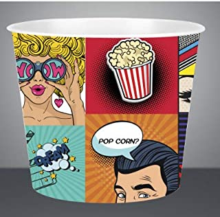 (1, Animated) - Large 4318ml, Modern Style Reusable Plastic Popcorn Containers / Popcorn Bowls Set for Movie Theatre Night...