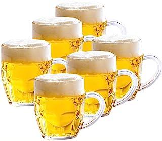 مجموعة من 6 أكواب البيرة الزجاج ، مع مقبض كأس البيرة المجمدة