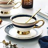 CJHYY Taza y platillo de Porcelana Creativa Blanca de Porcelana de Hueso, Juegos de té Simples de cerámica, Tazas de café de diseño Moderno