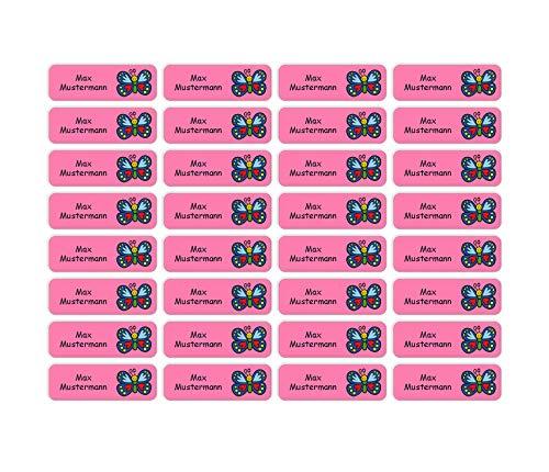 Sunnywall® Namensaufkleber Namen Sticker Aufkleber Sticker 4,8x1,6cm   60 Stück für Kinder Schule und Kindergarten 38 Hintergründe zur Auswahl (20 Schmetterling)