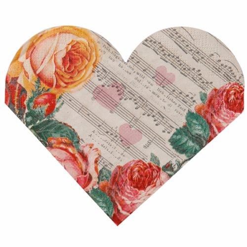 Tovaglioli a forma di cuore per matrimoni / San Valentino (Confezione da 15)