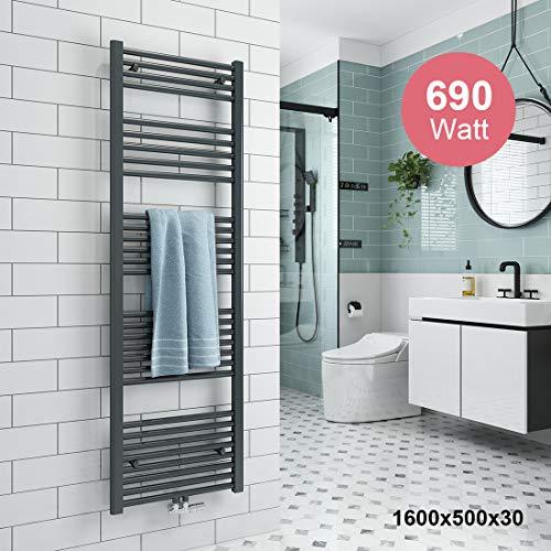 Meykoers Badheizkörper 1600x500mm Handtuchtrockner Mittelanschluss 690 Watt, Handtuchwärmer Heizkörper für Bad Heizung Radiator, Anthrazit