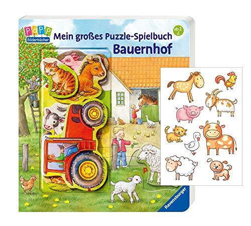 Mein - Libro de juegos con diseño de granja y pegatinas de animales, para niños a partir de 2 años
