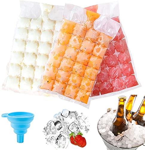 Bolsa de cubitos de hielo desechable,Bolsa Para Cubitos de Hielo,Bolsa Para Hielo Para Bebidas Frías:50 moldes de cubitos de hielo, que se pueden sellar automáticamente para cócteles,bebidas,cocina
