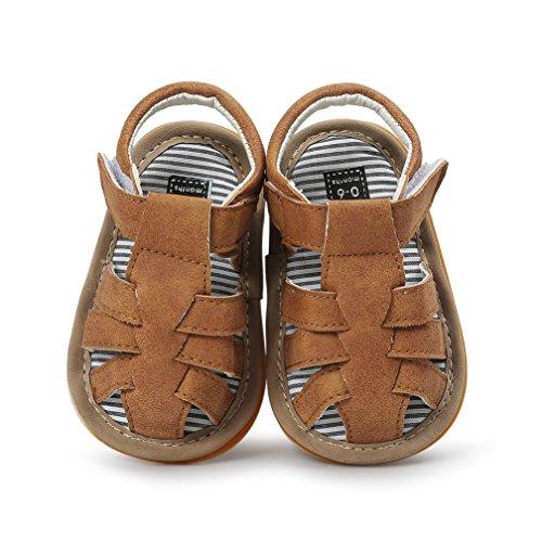 Baby Boys Girls Sandals Rubber Sole Outdoor First Walker Toddler Girls Boys Summer Shoes(0-6 Months Infant, D-Khaki)