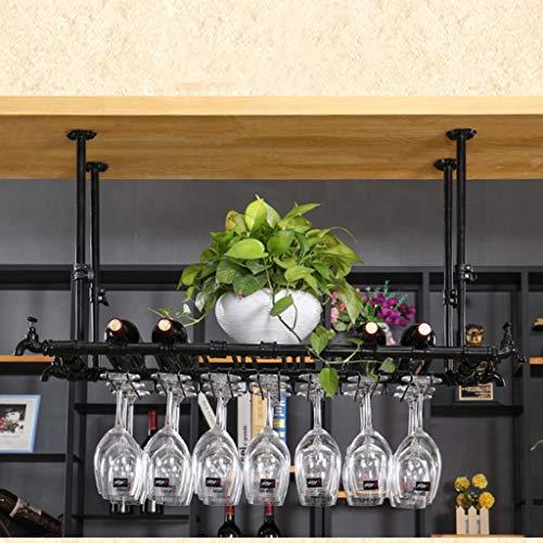 Botelleros para Vino Estante para vinos Portavasos de Vino Barro casero de Hierro Forjado Rack de cálices de Hotel Rojo Estante para vinos de Varios tamaños Negro (Tamaño : 120 * 30cm)