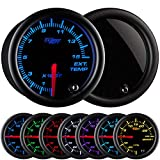 GlowShift Tinted 7 Color 1500 F Pyrometer Exhaust Gas Temperature EGT Gauge Kit - Includes Type K Probe - Black Dial - Smoked Lens - for Diesel Trucks - 2-1/16' 52mm