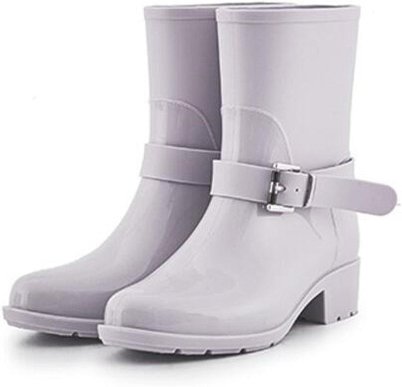 XIUWU Women's Mid Calf Rain Boots Outdoor Waterproof Footwears