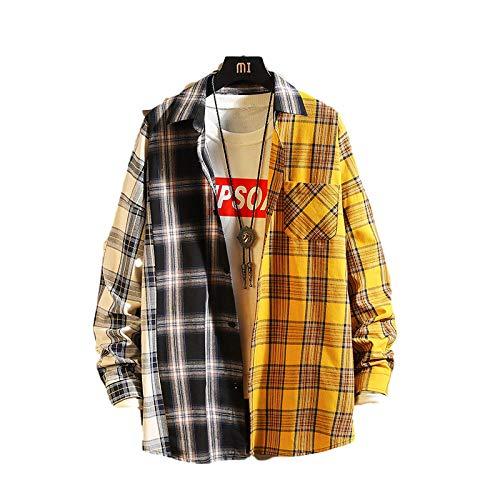 Camisa a Cuadros de Manga Larga Informal para Hombre con Costuras de Color en Contraste Camisa Abotonada con Solapa de Moda con Bolsillos XXL