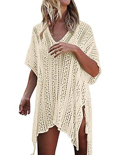 kenoce Damen Strandkleid Bikini Cover-Ups Sommer Gestrickte Asymmetrisch Strandurlaub Strandponcho Badeanzug Oversize Hellbeige Einheitsgröße