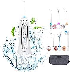 Irrigador Bucal Profesional Portátil con 6 Boquillas 5 Modos 300ML Irrigadores Dentales IPX7 Impermeable Limpieza Dental para Ortodoncia, Placa, Implantes Limpieza en Casa/Viaje (Blanco)