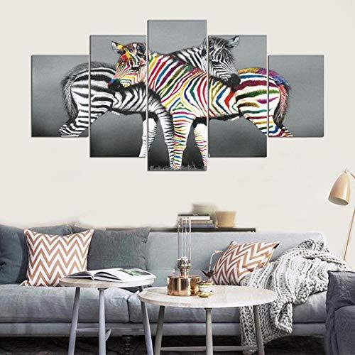 Preisvergleich Produktbild WZYWLH Moderne Malerei Auf Leinwand Home Decoration Wand Kunstwerk 5 Panel Zebra Tier Bilder HD Gedruckt Poster Rahmen Wohnzimmer