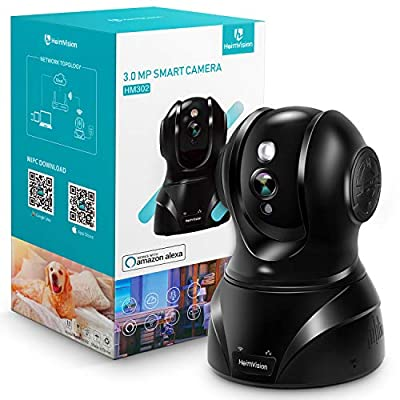 HeimVision HM302 UltraHD 2K (3MP/1536P) Wireless Security Camera, Pan/Tilt/Zoom Pet Camera with Night Vision, Two-Way Audio, Motion Sound Alerts and Cloud Storage, Compatible with Alexa