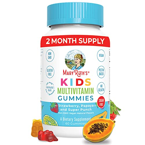 Kids Vitamins by MaryRuth's, Vegan Multivitamin Gummies with Organic Ingredients, Immune Support for Kids with Methylfolate, Sugar Free, Non-GMO, 2 Month Supply (60 Gummies)