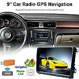 Autoradio 2 DIN, Lettore Multimediale per Auto, Ricevitori Stereo per Auto, 9'Navigazione GPS per Autoradio, Radio FM, per Collegamento Bluetooth/Specchio VW 16GB FM, per Android 7.1