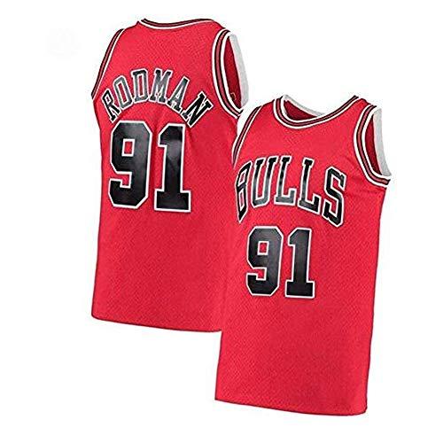 CLKI # 91 Bulls Ḋennis Rodman, Camisetas De Baloncesto Retro Bordadas para Hombres, Sudadera De Malla Transpirable De Moda Hip Hop Juvenil (S-2XL) Red-L