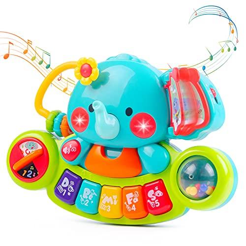 NYOBABE Baby Musikspielzeug für 6 9 12 18 Monate Kleinkinder, Elefant Klavier Tastatur Musik Spielzeug mit Licht & Ton Musikinstrumente Babyspielzeug für Kinder 1 2 Jahre Jungen Mädchen Lernspielzeug