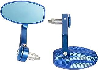 مرايا الرؤية الخلفية للدراجة النارية ، مرآة جانبية لمرآة بار نهاية الطريق ، ثلاثية 675 1050 بونفيل T100 T120 バイク (色 : 青い)