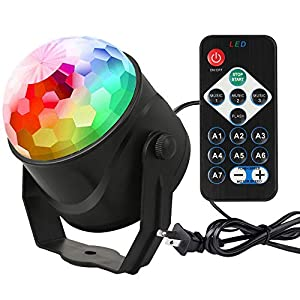 Fu Store Party Lights Disco Ball Strobe LED Stage Light Sound Activated RGB Christmas Light with Remote Control 7 Modes for Home Dance Party Birthday Bar Karaoke Christmas Wedding Show Club Pub