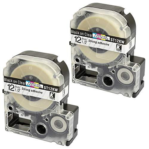 2 Kassetten LC-4TBN LC-4TBN9 ST12KW schwarz auf transparent 12mm x 8m Schriftband kompatibel für Epson LabelWorks LW-300 LW-300L LW-400 LW-500 LW-600P LW-700 LW-900P LW-1000P Beschriftungsgerät