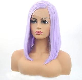 Koloeplf 女性用フロントレースウィッグライトパープルボブショートストレートヘアウィッグヘッドギア