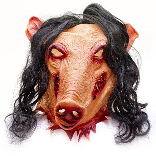 GOODS+GADGETS Horror Schweinemaske Pig Schweine Latex Maske Schwein Saw Jigsaw Halloween