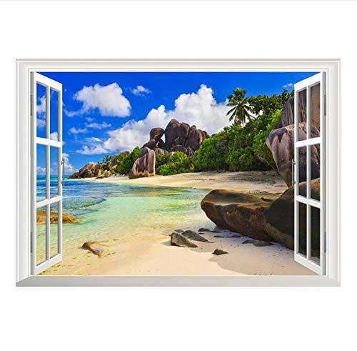 zwyluck muurstickers, 3D-effect, aquarium, zee, strand, huisschoen, decoratie, woondecoratie, keukenaccessoires, wanddecoratie, 70 x 50 cm